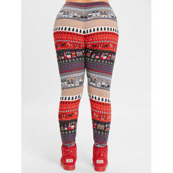 Christmas Tree House Jacquard Plus Size Leggings - RED 5XL