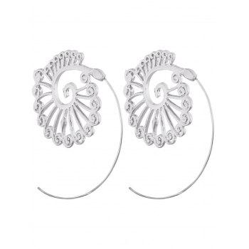 Pair of Hollow Out Pattern Spiral Romantic Stud Earrings - WHITE