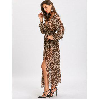 High Slit Leopard Print Maxi Surplice Dress - LEOPARD PRINT PATTERN M