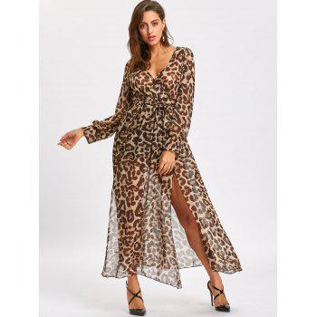 High Slit Leopard Print Maxi Surplice Dress - LEOPARD PRINT PATTERN XL