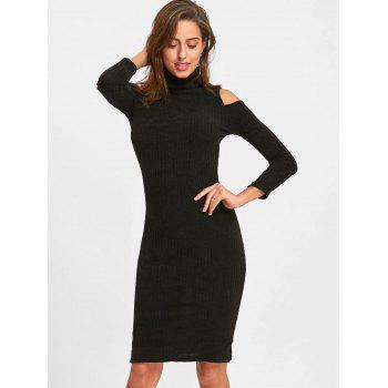 Midi Cold Shoulder Bodycon Sweater Dress - BLACK BLACK