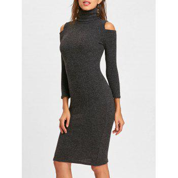 Midi Cold Shoulder Bodycon Sweater Dress - GRAY GRAY