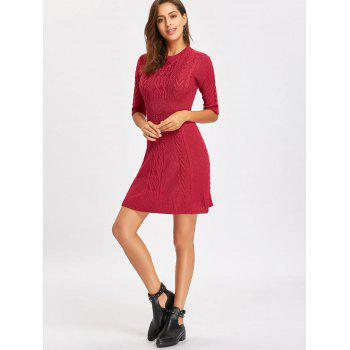 Crew Neck Cable Knitted Mini Dress - WINE RED WINE RED