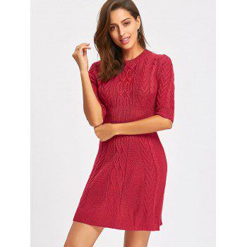 Crew Neck Cable Knitted Mini Dress - WINE RED L