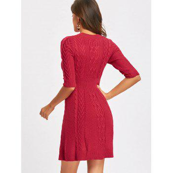 Crew Neck Cable Knitted Mini Dress - WINE RED M