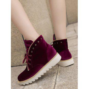 Stacked Heel Velvet Ankle Boots - WINE RED 38