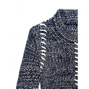 Jacquard Crew Neck Pullover Sweater - BLUE 3XL