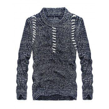 Jacquard Crew Neck Pullover Sweater - BLUE BLUE