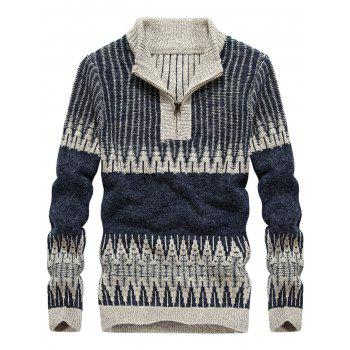 Stand Collar Color Block Jacquard Half Zip Sweater - STONE BLUE STONE BLUE