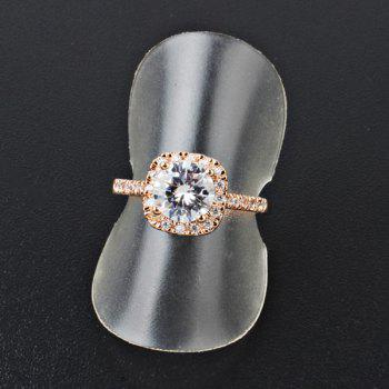 Vintage Zircon Insert Embellished Metal Ring - GOLDEN