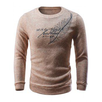 Crew Neck Feather Embroidered Sweater - APRICOT APRICOT