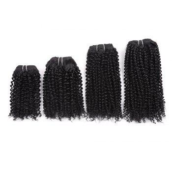 Short Cork Curly Synthetic 4 Pieces Hair Weaves - BLACK BLACK