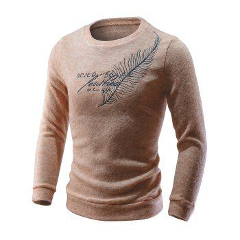 Crew Neck Feather Embroidered Sweater - APRICOT L