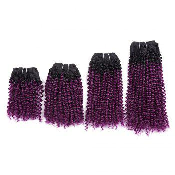 Short Cork Curly Synthetic 4 Pieces Hair Weaves - GRADUAL PURPLE GRADUAL PURPLE