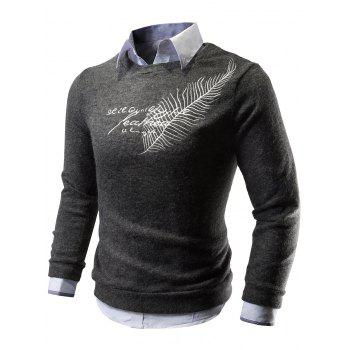 Crew Neck Feather Embroidered Sweater - DEEP GRAY L