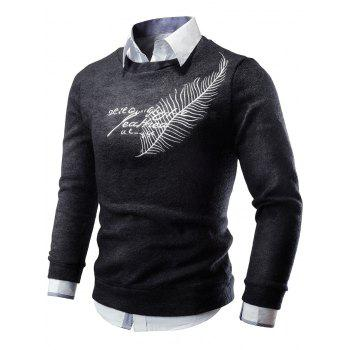Crew Neck Feather Embroidered Sweater - BLACK 2XL