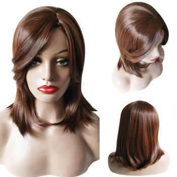 Medium Side Part Natural Straight Synthetic Wig - BROWN BROWN