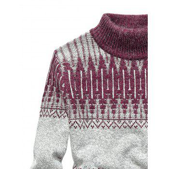 Mock Neck Jacquard Color Block Sweater - RED RED