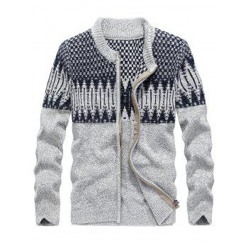 Color Block Jacquard Zip Front Sweater Cardigan - GRAY GRAY
