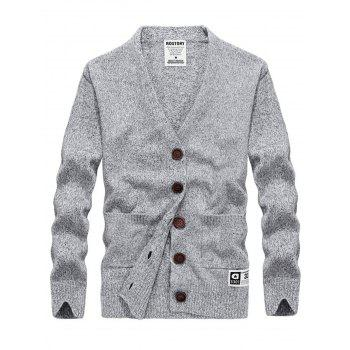 Button Up Cashmere V Neck Cardigan - LIGHT GRAY LIGHT GRAY