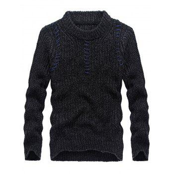 Jacquard Crew Neck Pullover Sweater - BLACK BLACK
