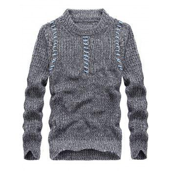 Jacquard Crew Neck Pullover Sweater - LIGHT GRAY LIGHT GRAY