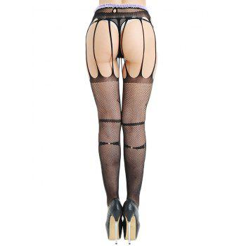 High Waist Cut Out Stripy Fishnet Garter Tights - BLACK ONE SIZE