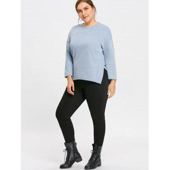 Plus Size Side Slit Drop Shoulder  Sweater - BLUE 2XL