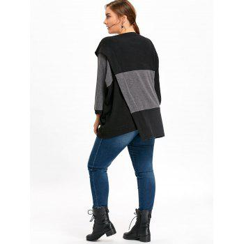 Plus Size Loose Color Block Dolman Sleeve Sweater - BLACK ONE SIZE