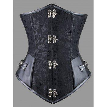 Plus Size Faux Leather Panel Lace-up Corset - BLACK BLACK