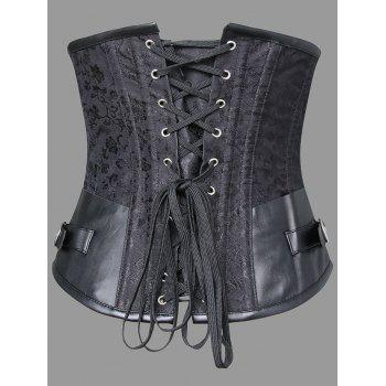 Plus Size Faux Leather Panel Lace-up Corset - BLACK 6XL