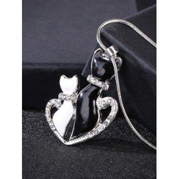 Rhinestone Heart Kitten Collarbone Necklace - BLACK WHITE