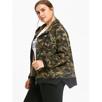 Plus Size Zip Up Camouflage Hooded Jacket - ARMY GREEN ONE SIZE