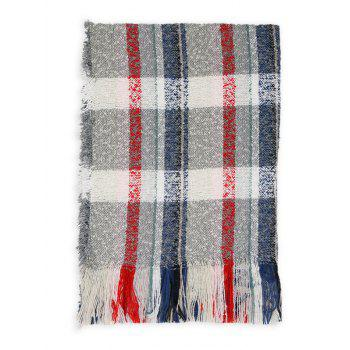 Soft Colormix Striped Pattern Fringed Shawl Scarf - GRAY GRAY