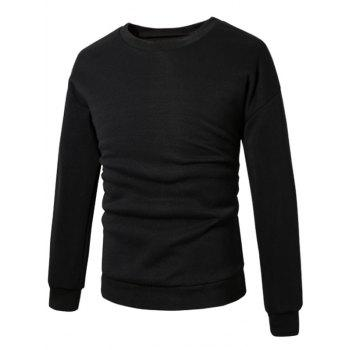 Pull-over Sweat-shirt à Lingnes en Cuir PU - Noir 2XL