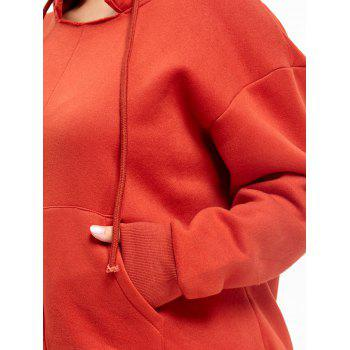 Plus Size Drop Shoulder Fleece Lined Hoodie - JACINTH ONE SIZE