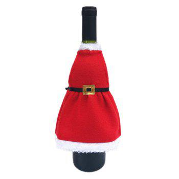 2PCS Christmas Decorative Apron Wine Bottle Covers - RED RED