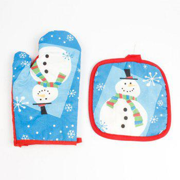 Christmas Snowman Pattern Oven Mitts - BLUE BLUE