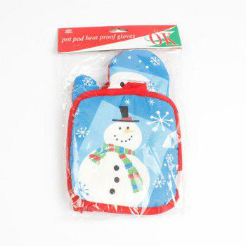 Christmas Snowman Pattern Oven Mitts -  BLUE