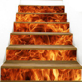 Roaring Flame Printed Stair Stickers - FLAME RED 100*18CM*6PCS