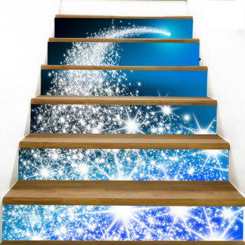 Christmas Blue Starlight Printed Removable Stair Stickers - BLUE 100*18CM*6PCS