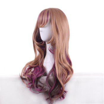 Long Side Bang Wavy Colormix Synthetic Harajuku Lolita Wig - BROWNISH PURPLE