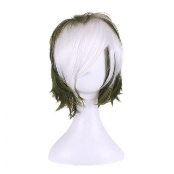 Short Side Bang Layered Slightly Curly Two Tone Synthetic Cosplay Wig -  WHITE/GREEN