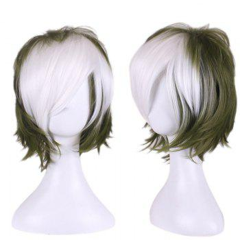 Short Side Bang Layered Slightly Curly Two Tone Synthetic Cosplay Wig - WHITE AND GREEN WHITE/GREEN