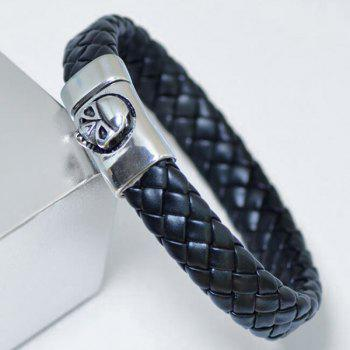 Skull Pattern Magnet Buckle PU Leather Bracelet - BLACK