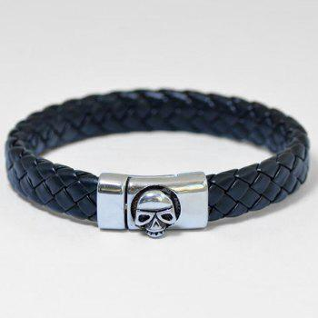 Skull Pattern Magnet Buckle PU Leather Bracelet - BLACK BLACK