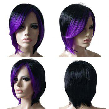 Short Inclined Fringe Colormix Straight Synthetic Wig - BLACK AND PURPLE BLACK/PURPLE
