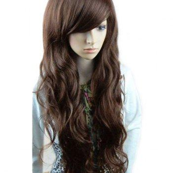 Inclined Bang Long Layered Wavy Synthetic Wig - DEEP BROWN DEEP BROWN