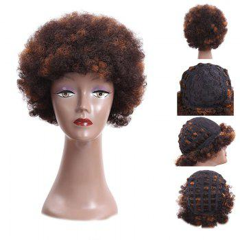 Bouffant Short Afro Curly Heat Resistant Synthetic Wig - BROWN BROWN