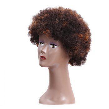 Bouffant Short Afro Curly Heat Resistant Synthetic Wig - BROWN